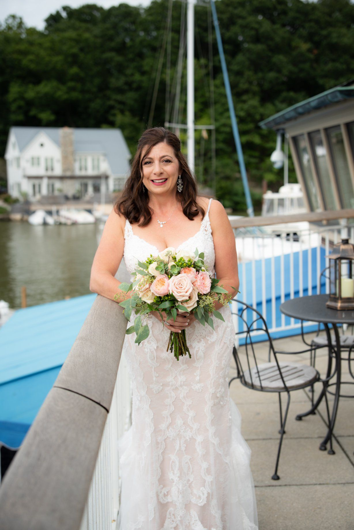 bride overlooking Lake Erie, Cleveland Yachting Club, Ohio