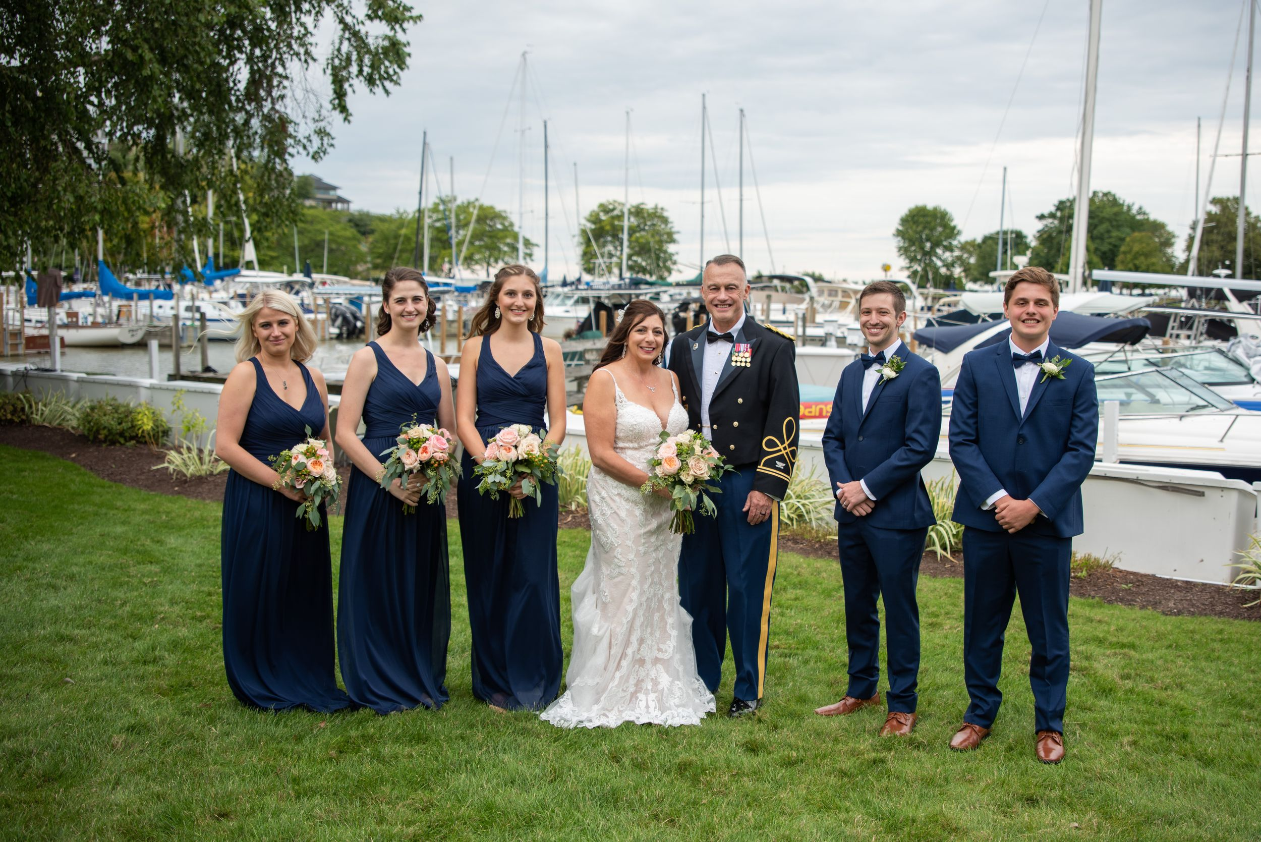 bridal party at outdoor wedding, Cleveland Yachting Club, Ohio