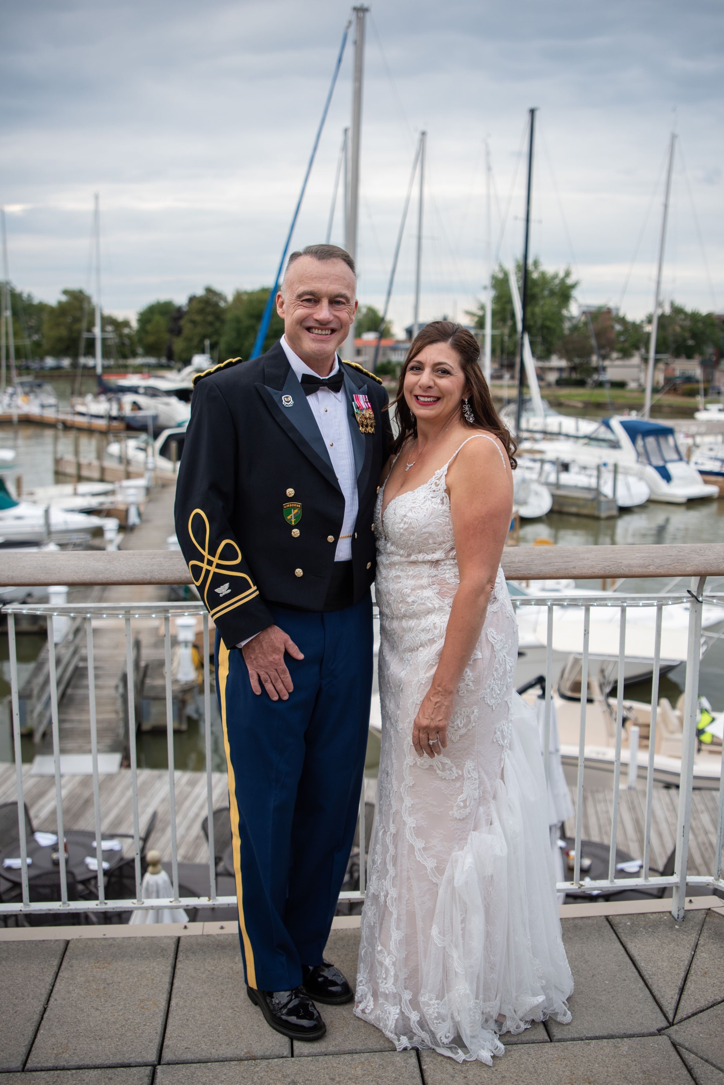bride and groom on deck at outdoor wedding, Cleveland Yachting Club, Ohio