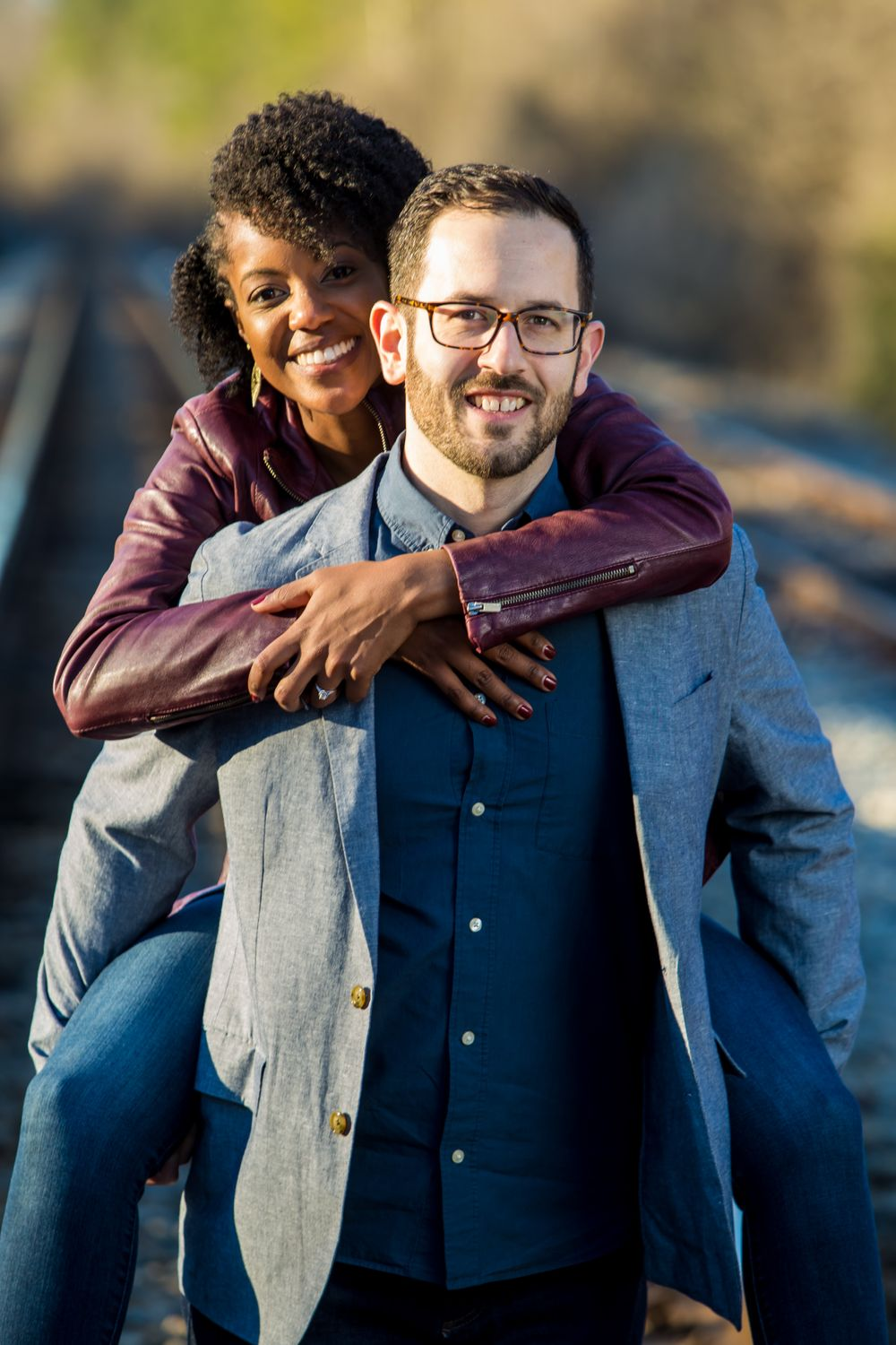 Engagement portrait at the railroad trestle at the Palmetto Trail near Peak, SC