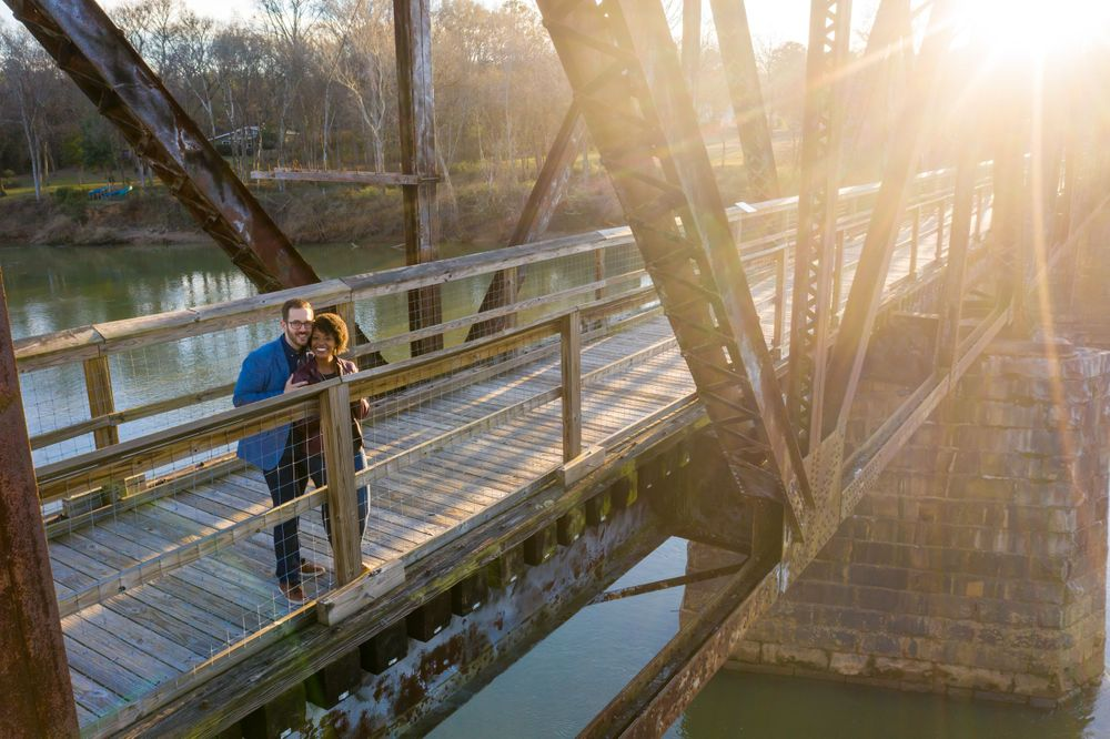 Drone engagement portrait at the railroad trestle at Palmetto Trail near Peak, SC