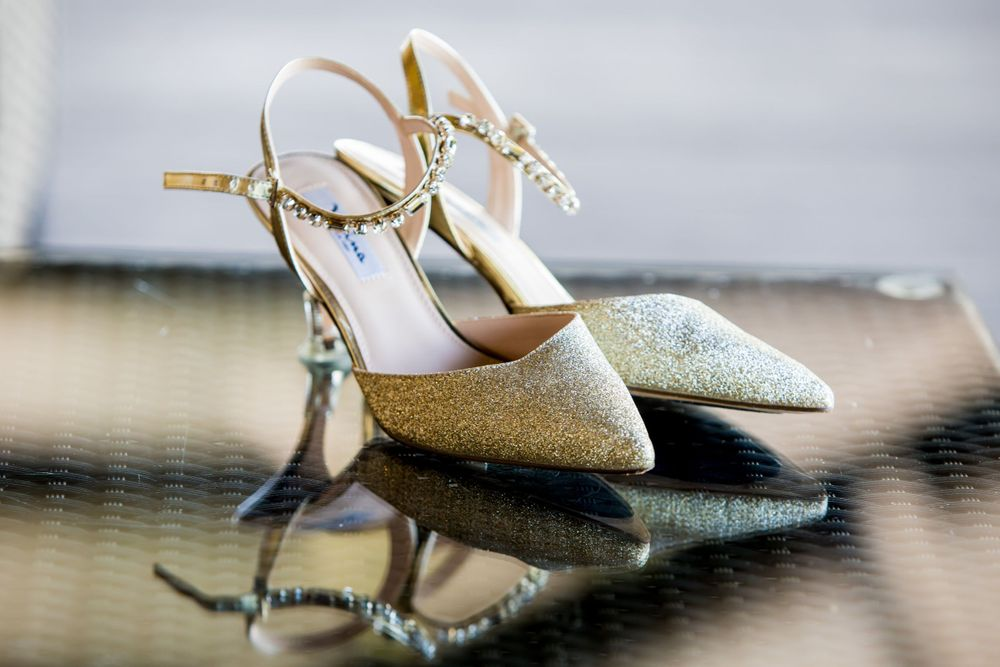Bridal shoes before a wedding ceremony at Stone River in West Columbia, SC