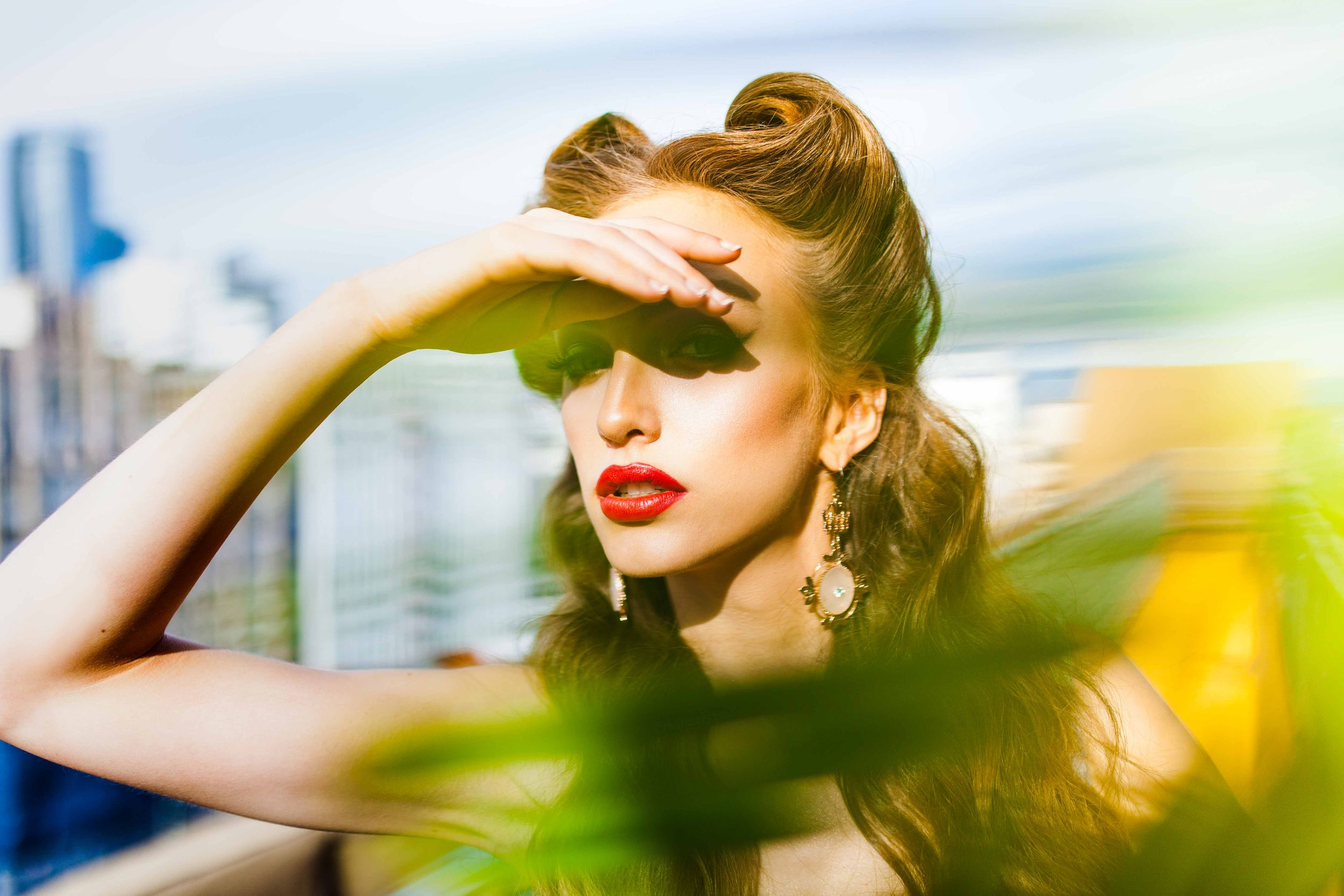 Model Crystal Van Commenee National A-List Magazine Editorial Los Angeles California Rockabilly red lipstick Jewelry