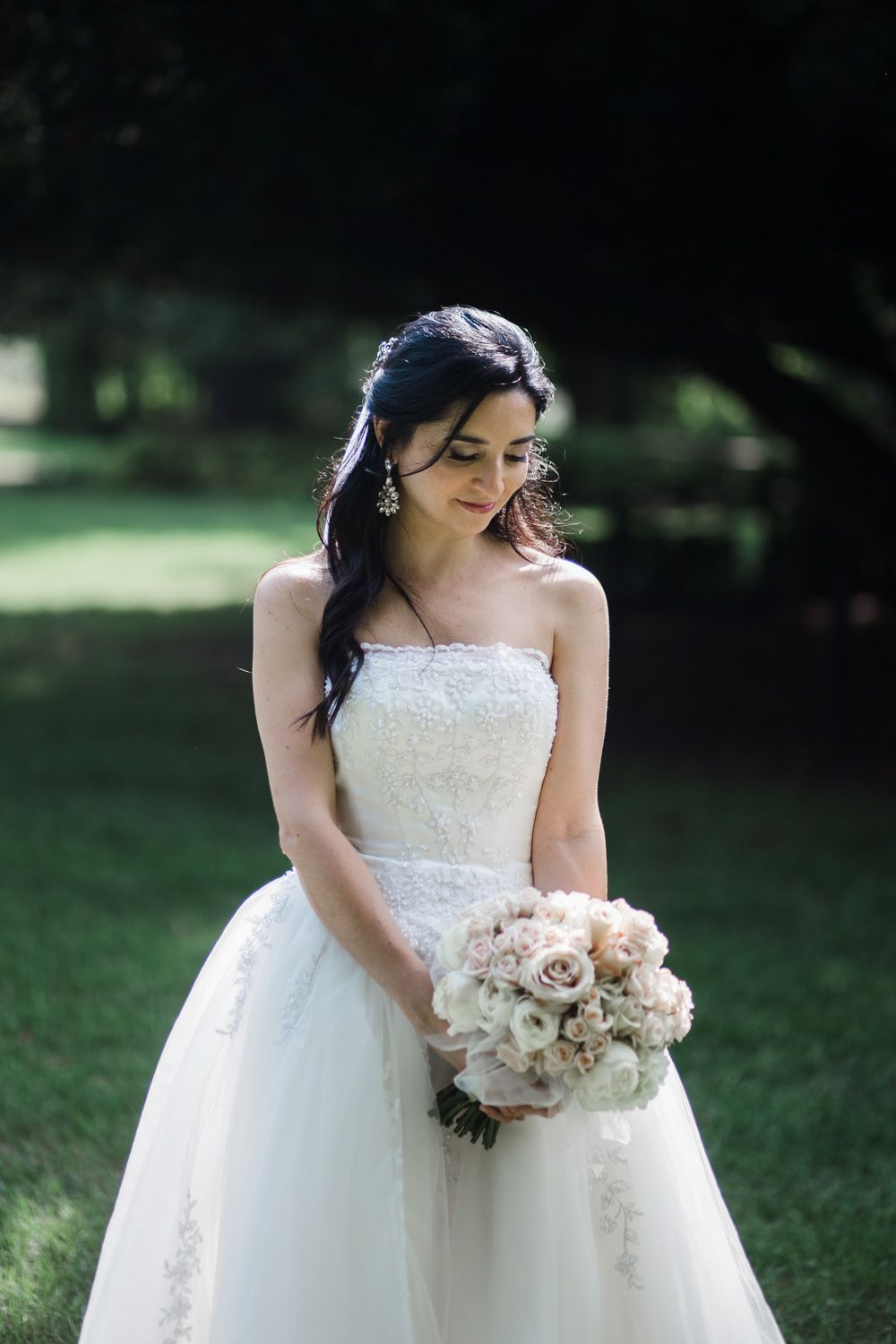Closeup of bride with strapless gown