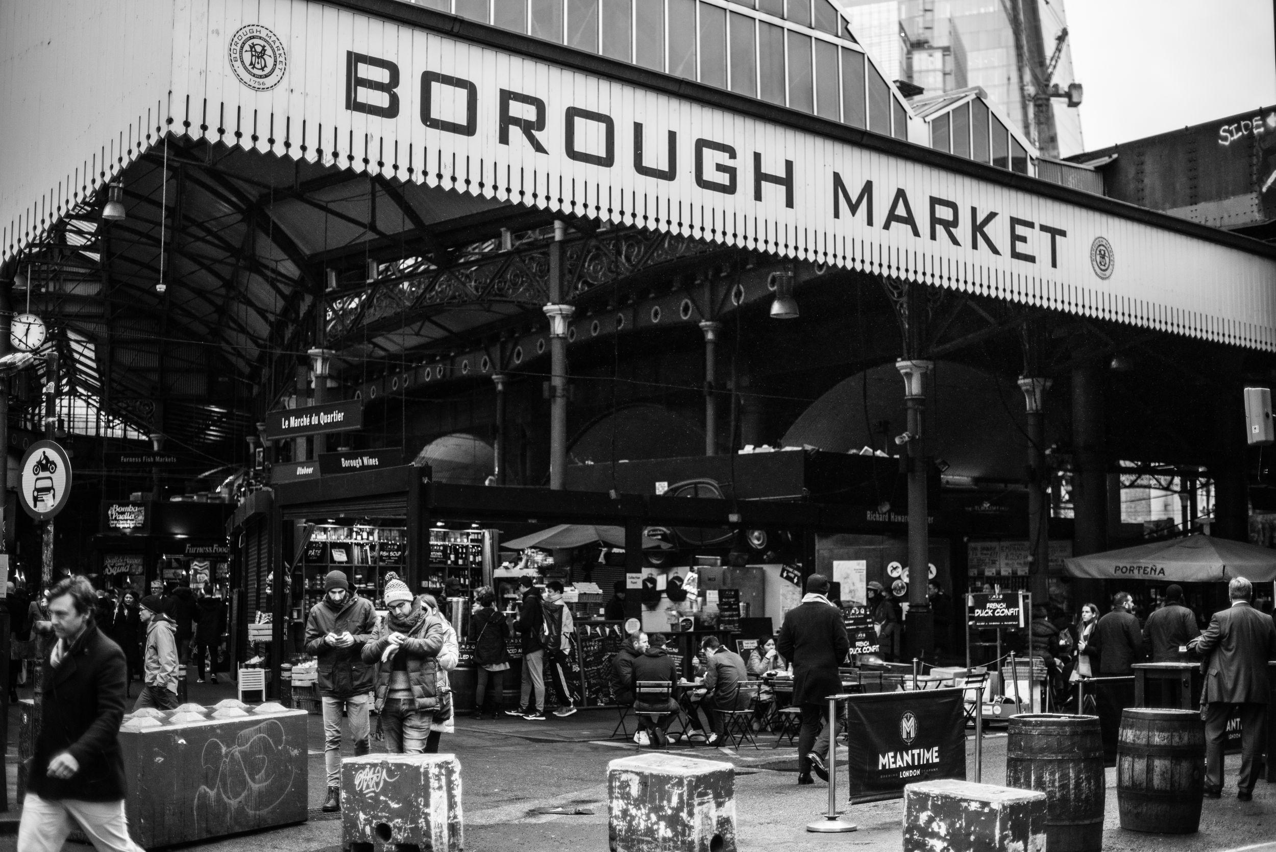 B&W image outside of Borough Market in London