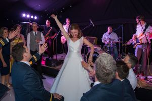 bride being serenaded by her wedding guests, Robert Nelson Wedding Photography