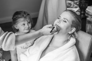 brie having her makeup put on whilst your girl watches, Robert Nelson Wedding Photography