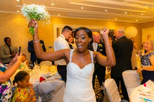 bride celebrating being married, Robert Nelson Wedding Photography