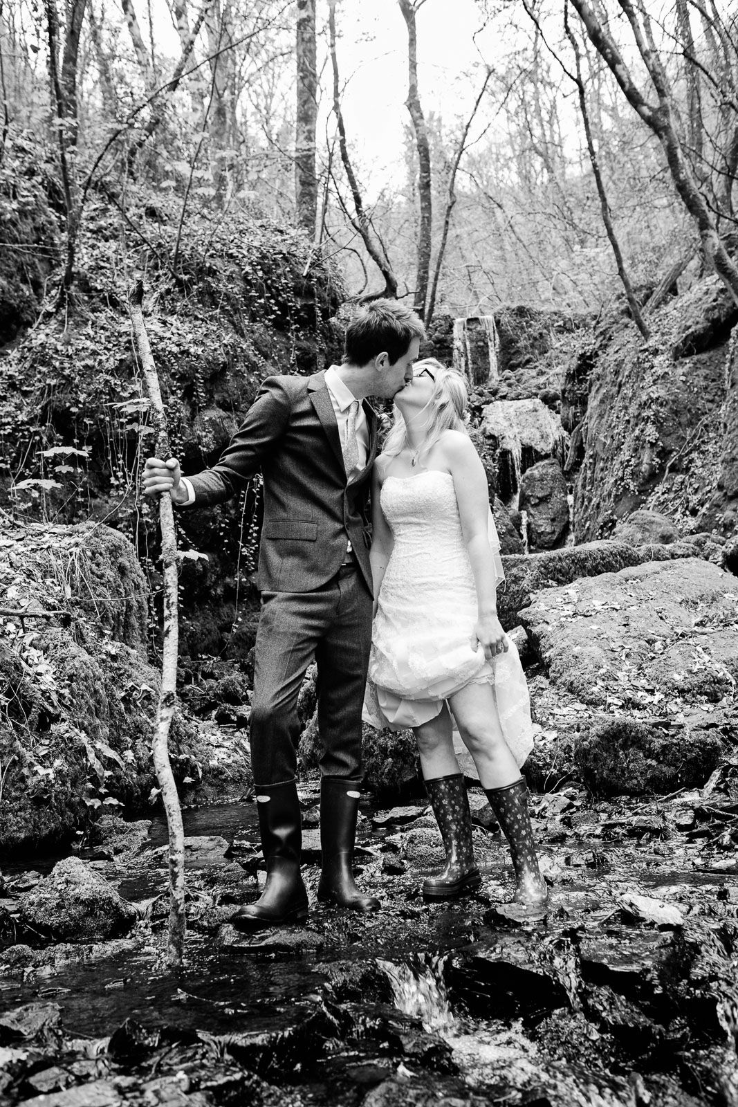Canonteign Falls wedding photography vintage style wedding couple in wellies