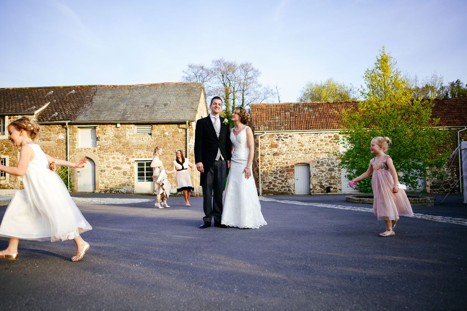 creative wedding photographer at the Great Barn Devon