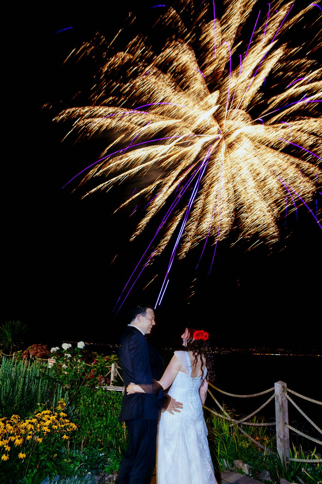 fireworks at wedding in Brixham Devon