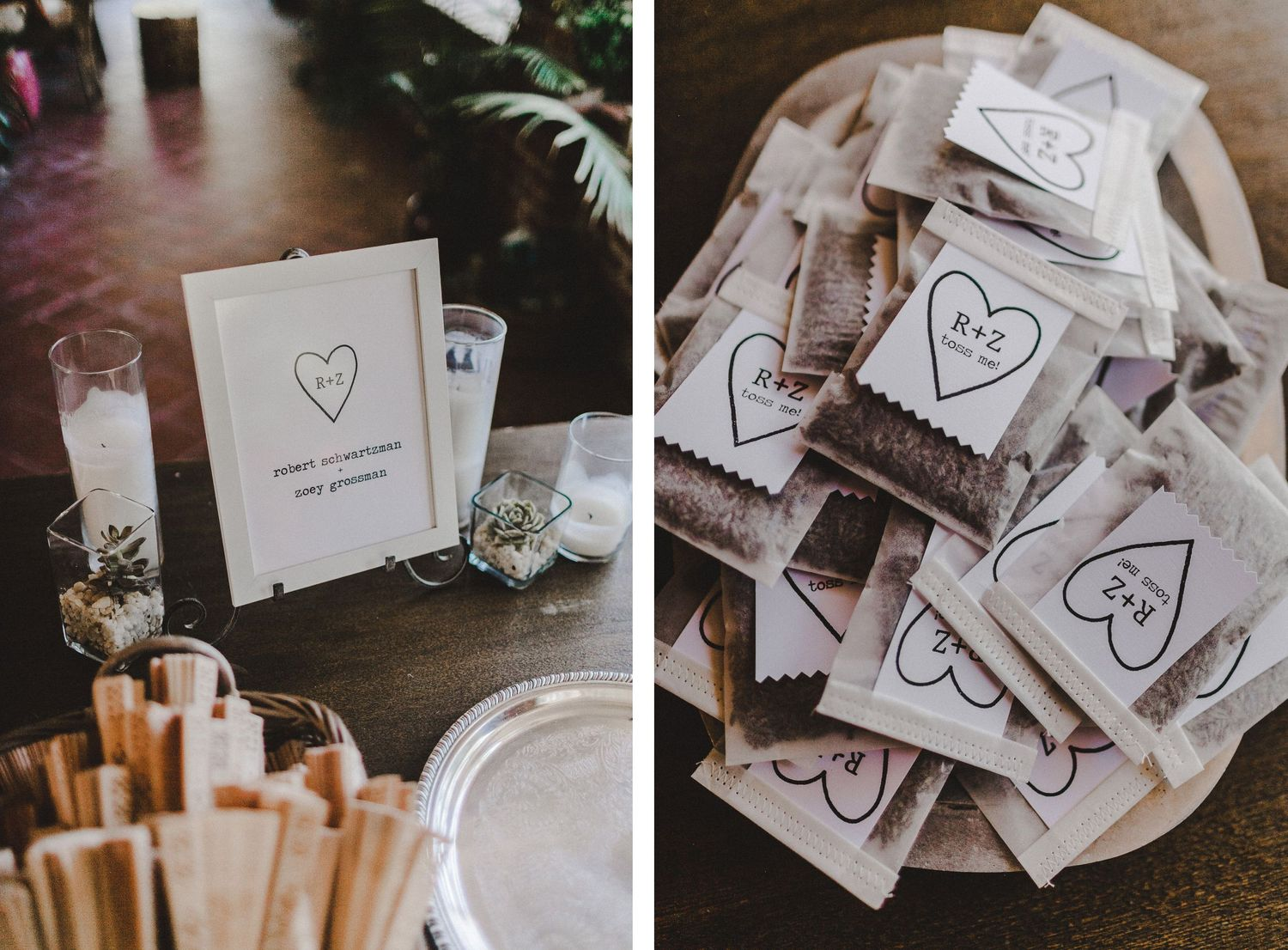 detail shot of welcome table at zoey and robert's wedding