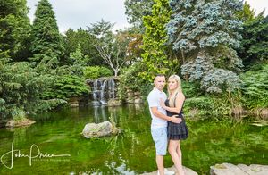 engagement photos by waterfall at highfields boating lake