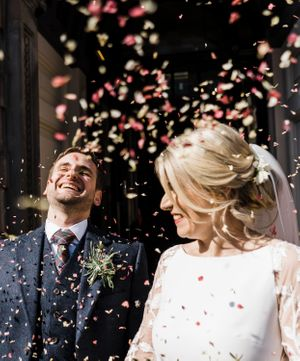 The George Edinburgh Wedding Photography natural confetti
