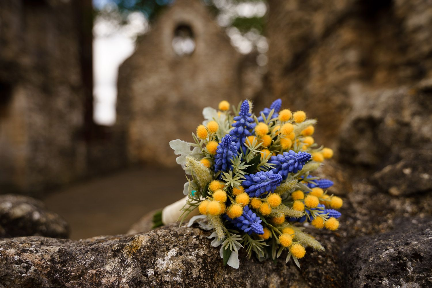 Blue and yellow bridal bouquet at Southampton Old Town wedding.