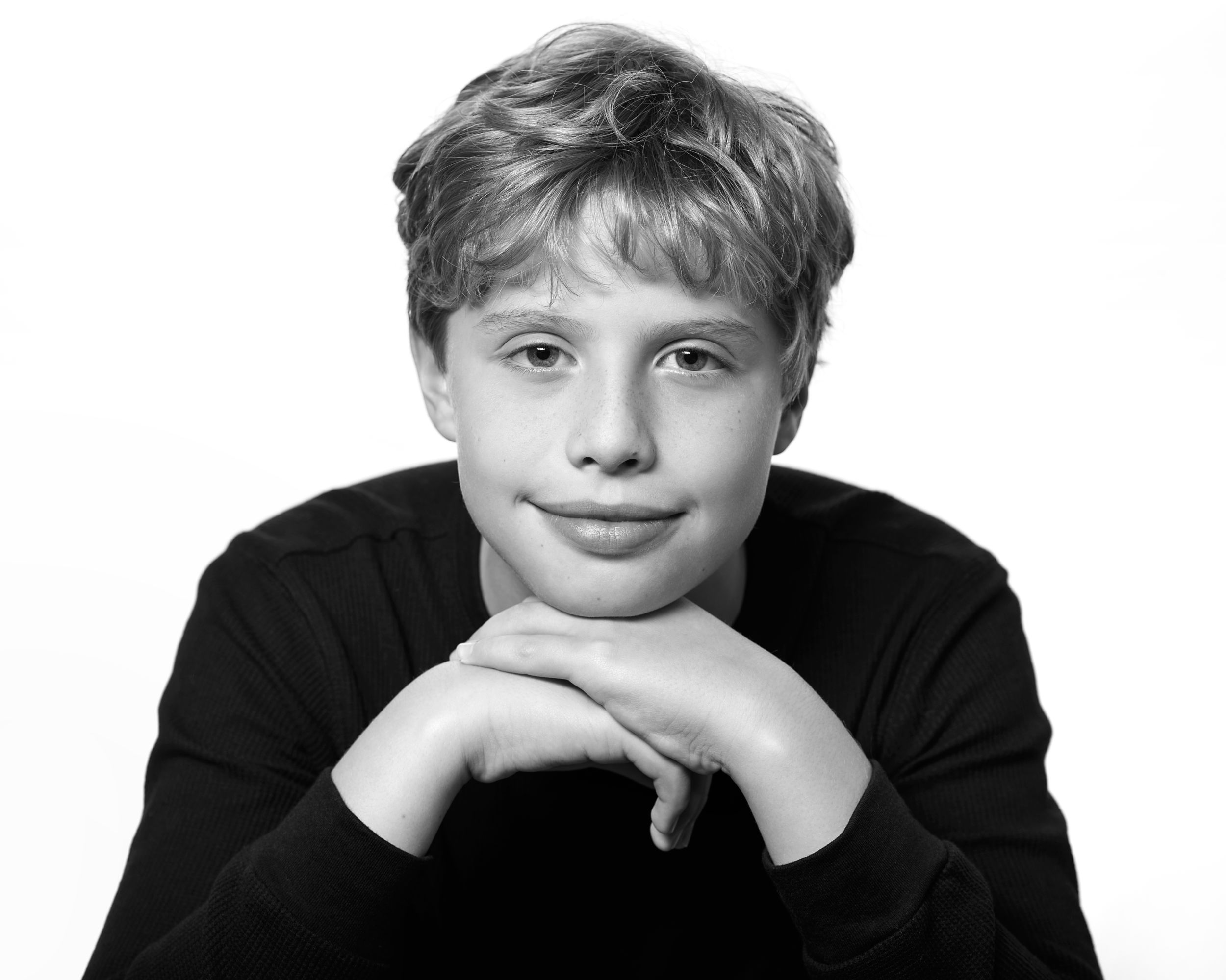 Black & white male child model headshot