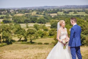 Countryside view with wedding couple