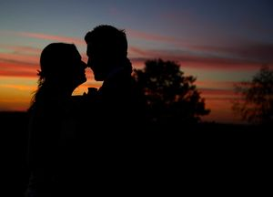 Sunset wedding silhouette