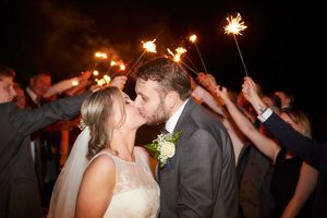 Wedding bride and groom sparklers