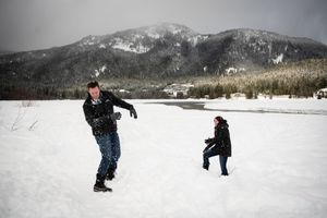 Winter Engagement Photography Whistler Snowball Fight
