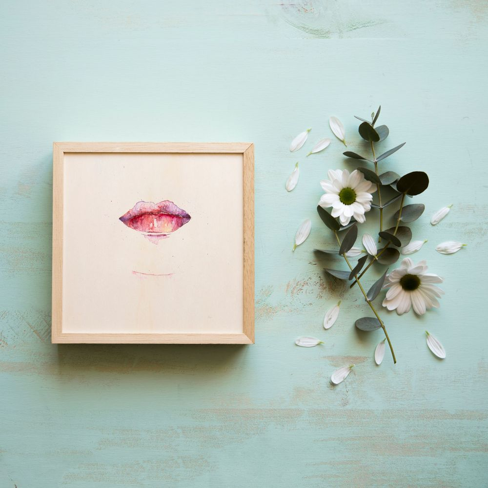 Paiting lips watercolor