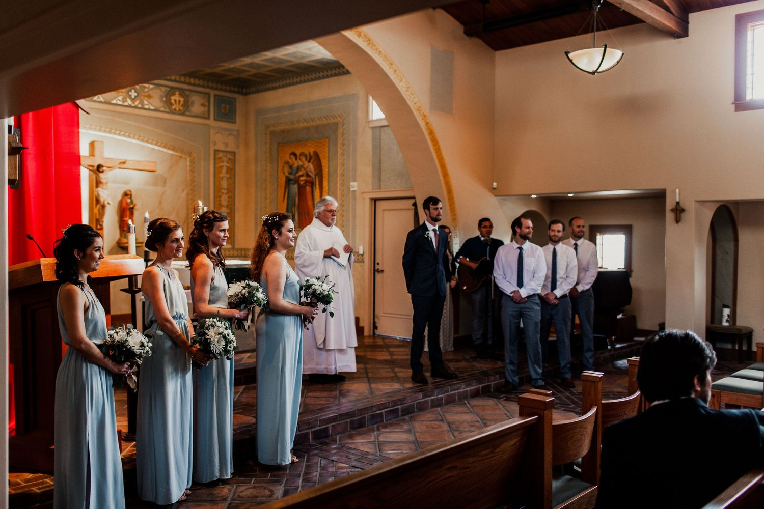 Wedding party inside St Francis Catholic Church