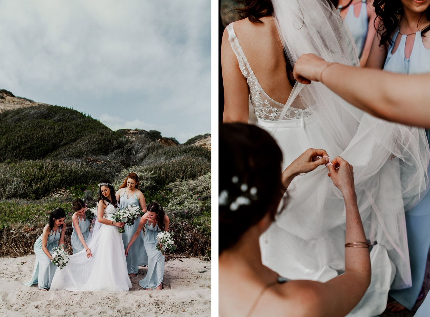bridesmaids in blue dress helping bustle wedding dress on beach