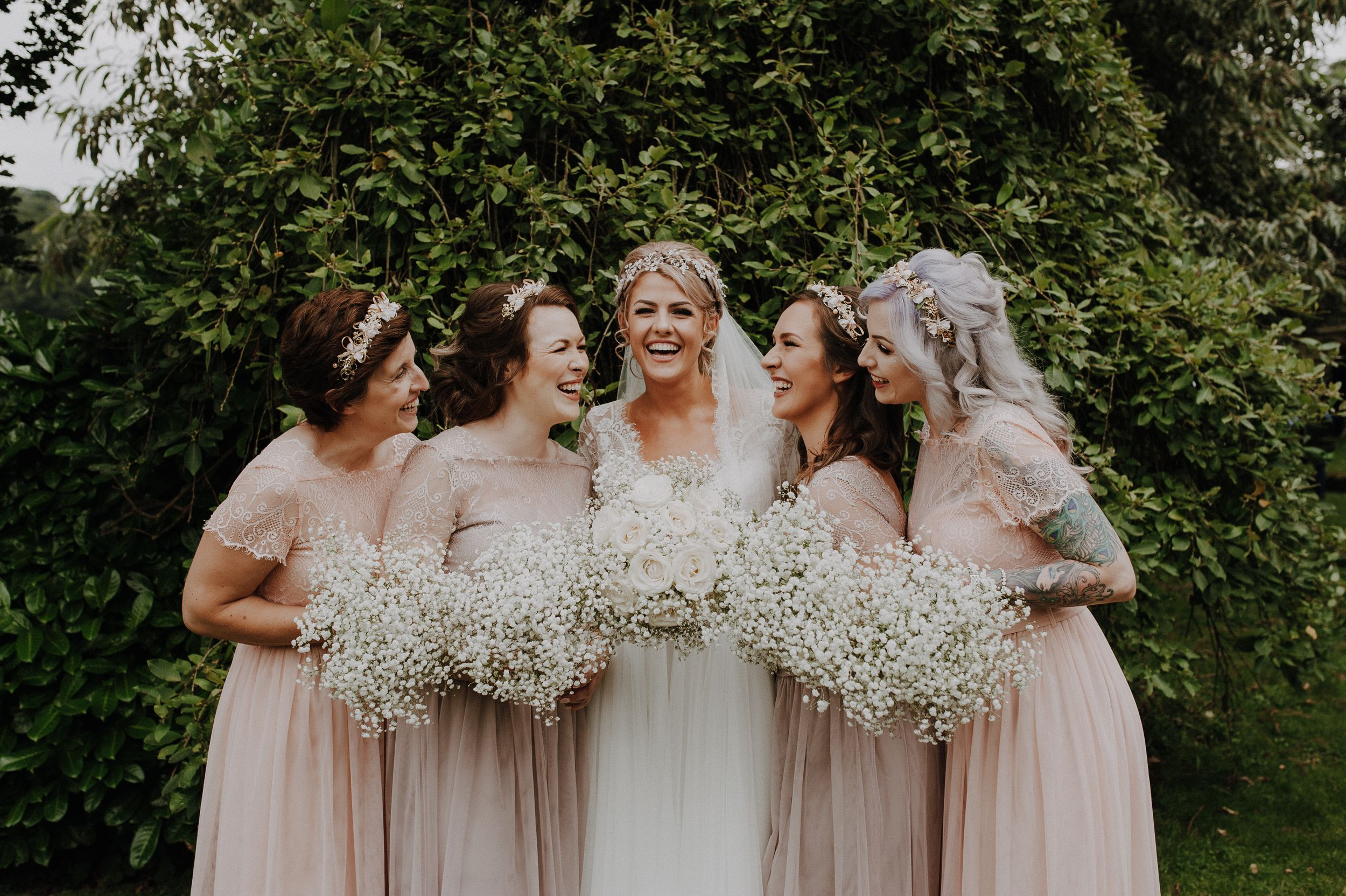 alcumlow barn wedding venue, bridesmaids