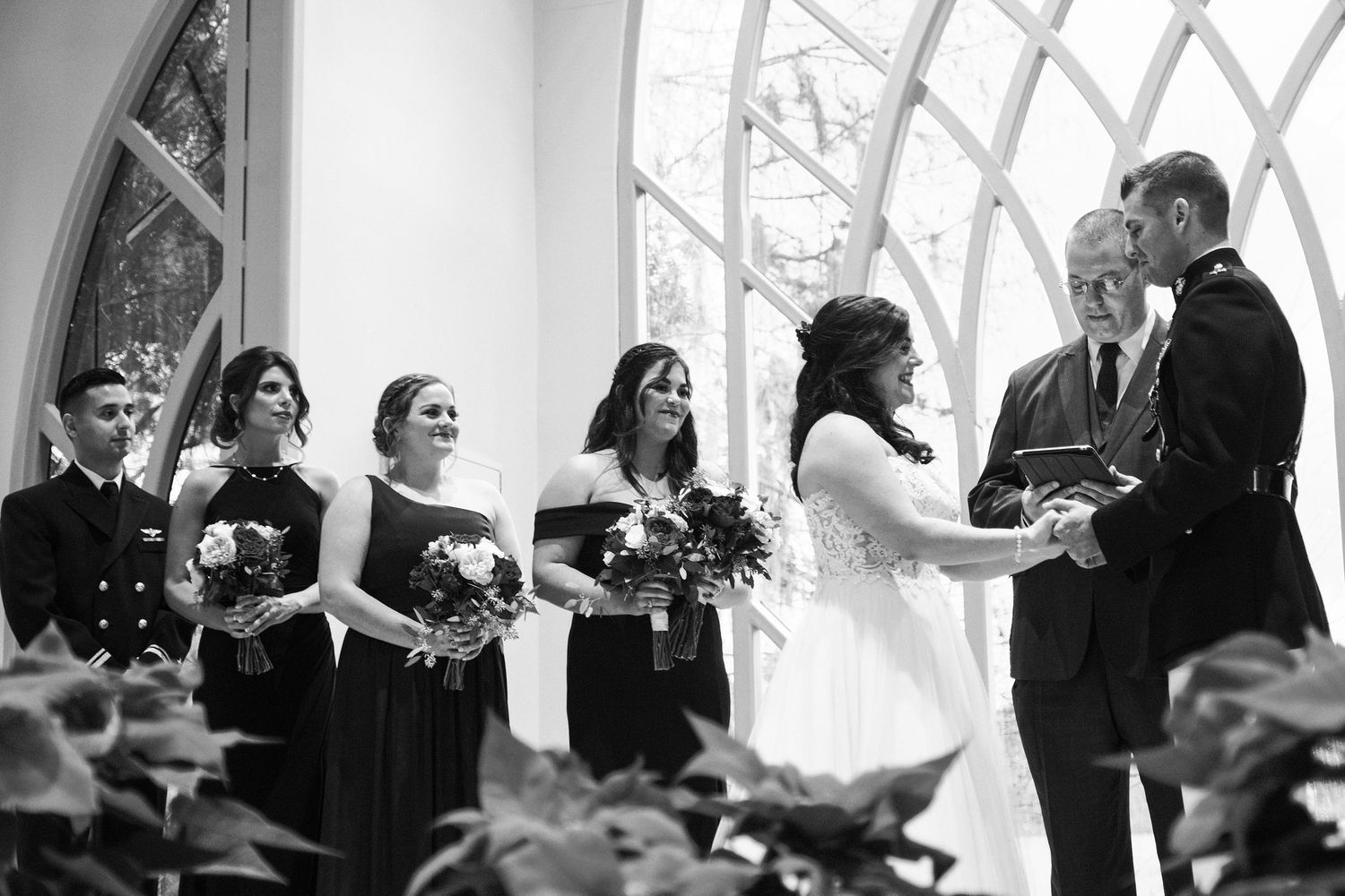 A wedding ceremony at the Baughman Center. Hybrid wedding photography by Chris Watkins.