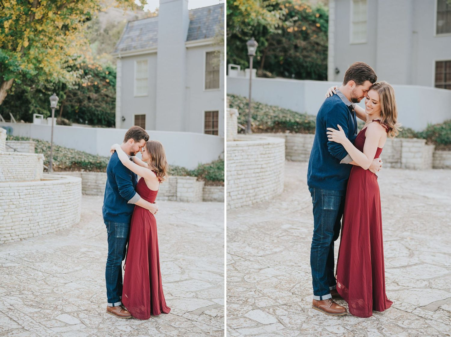 engagement photo near stone fountain