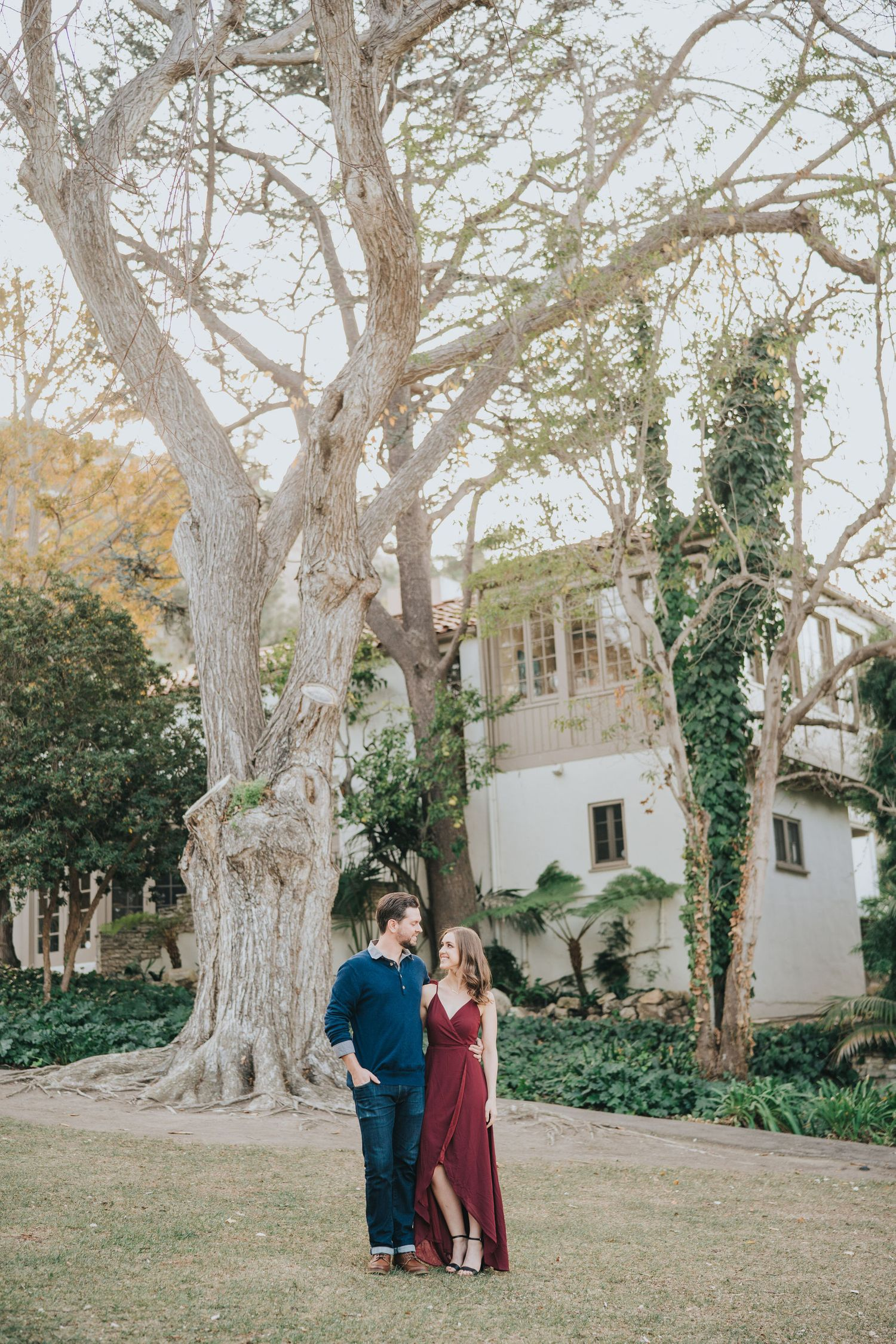 engagement photo in front of large tree