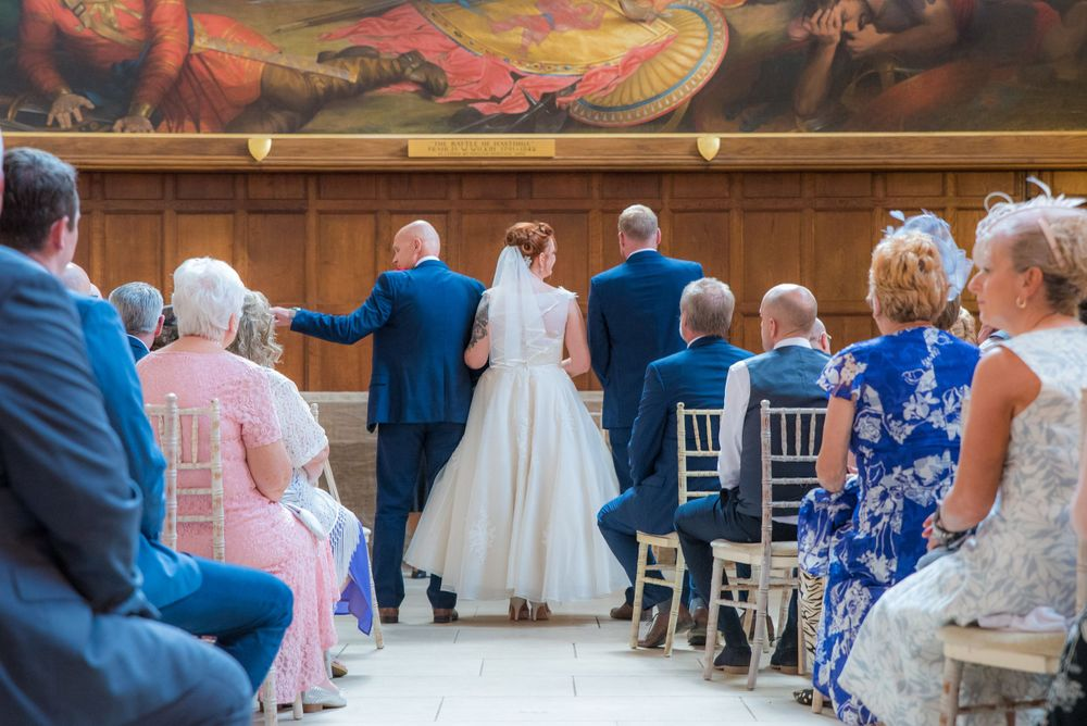 bride and groom at battle abbey school wedding , Robert Nelson Wedding Photography