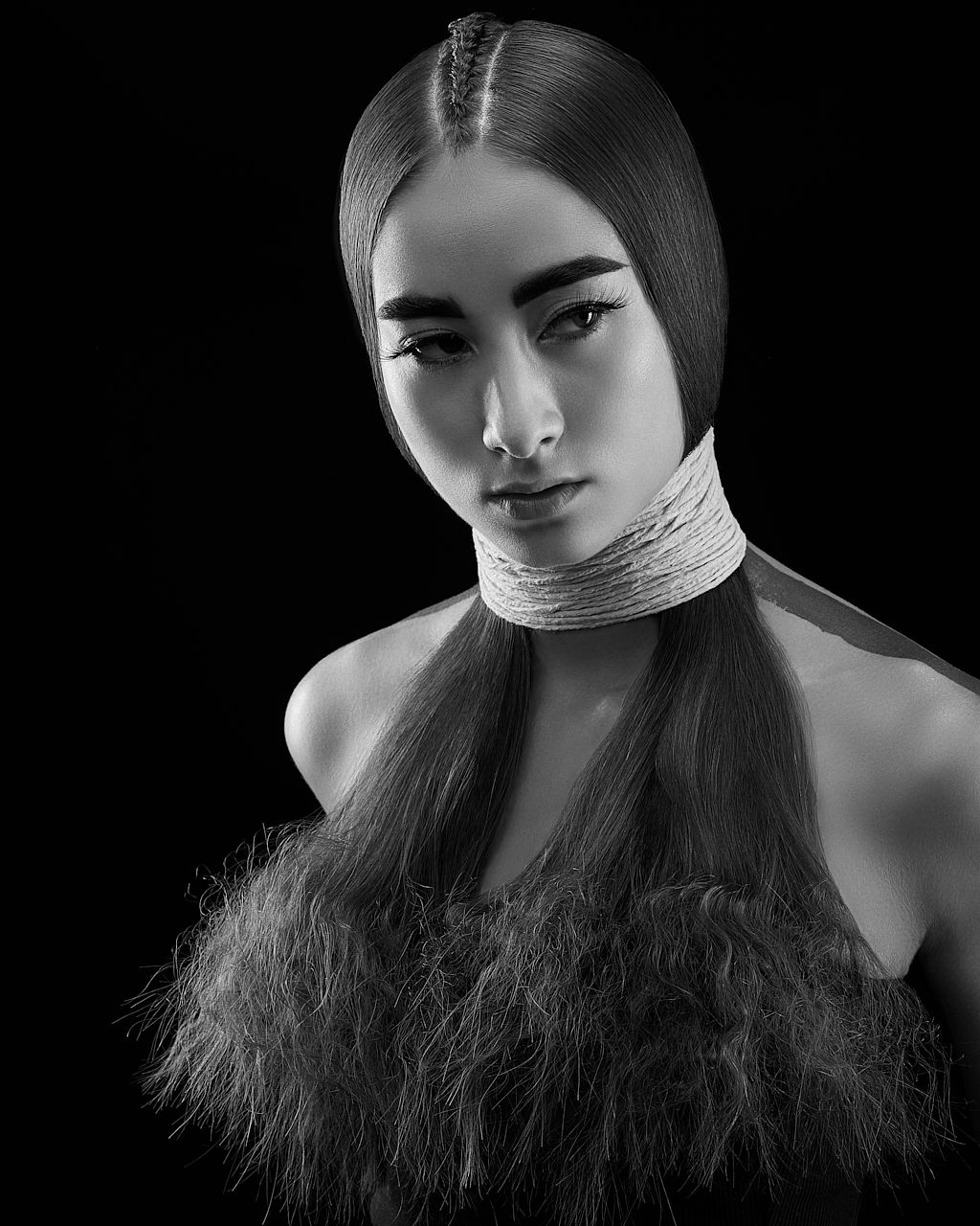 High end competition hair photography in black and white