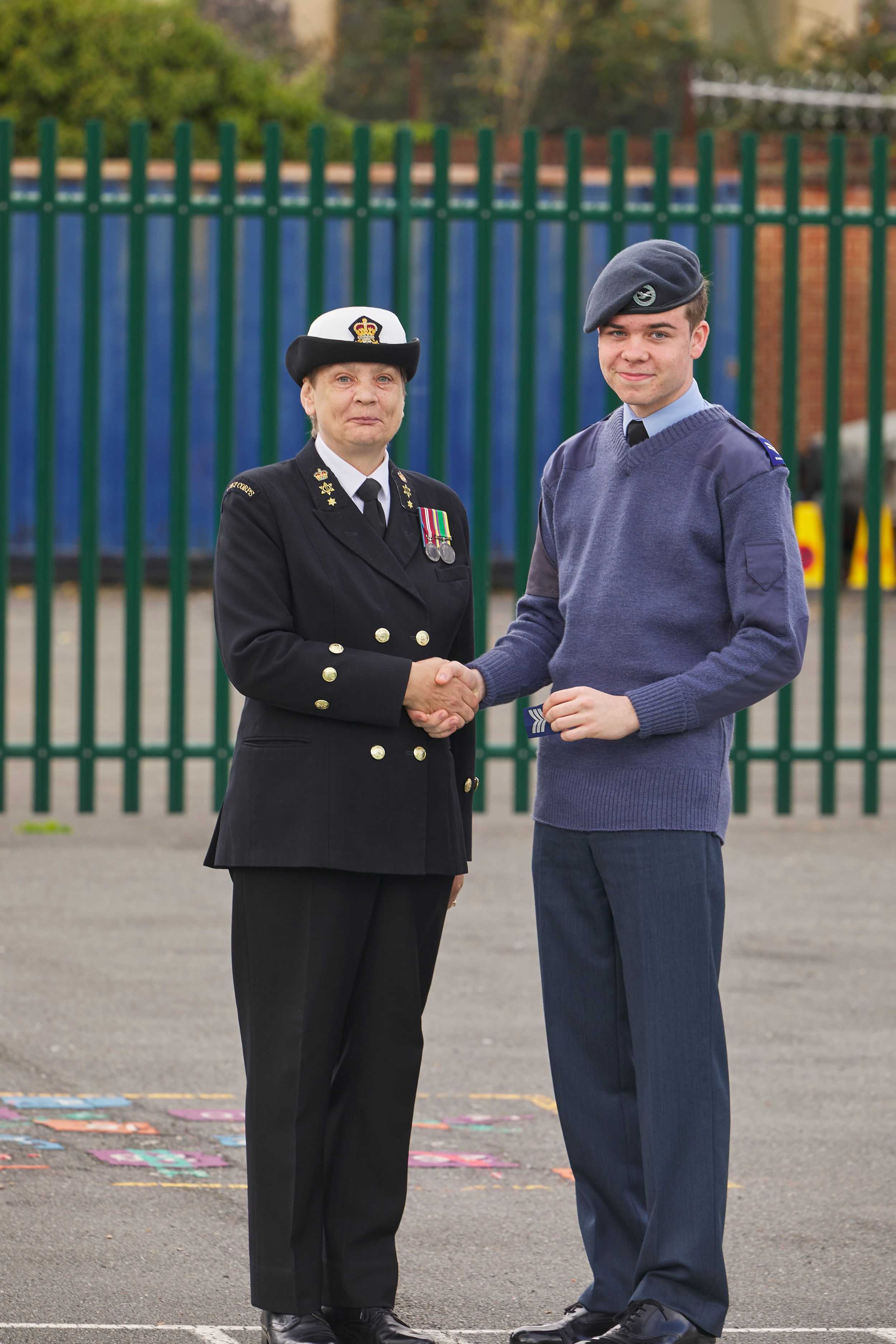 Cadet receiving promotion
