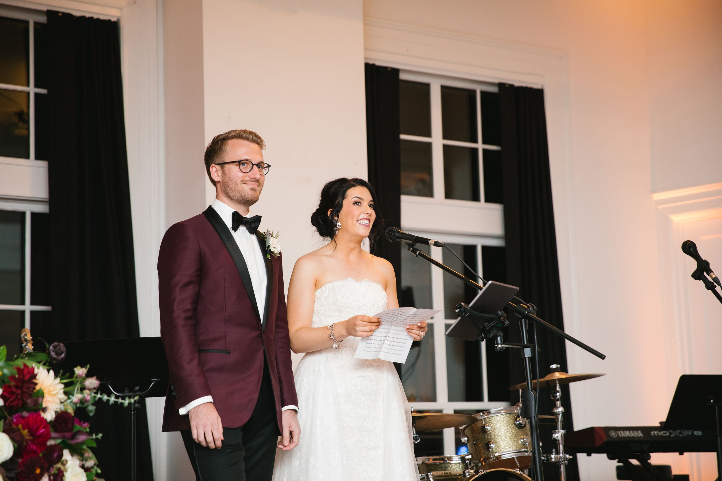 bride and groom making speech during wedding reception toronto