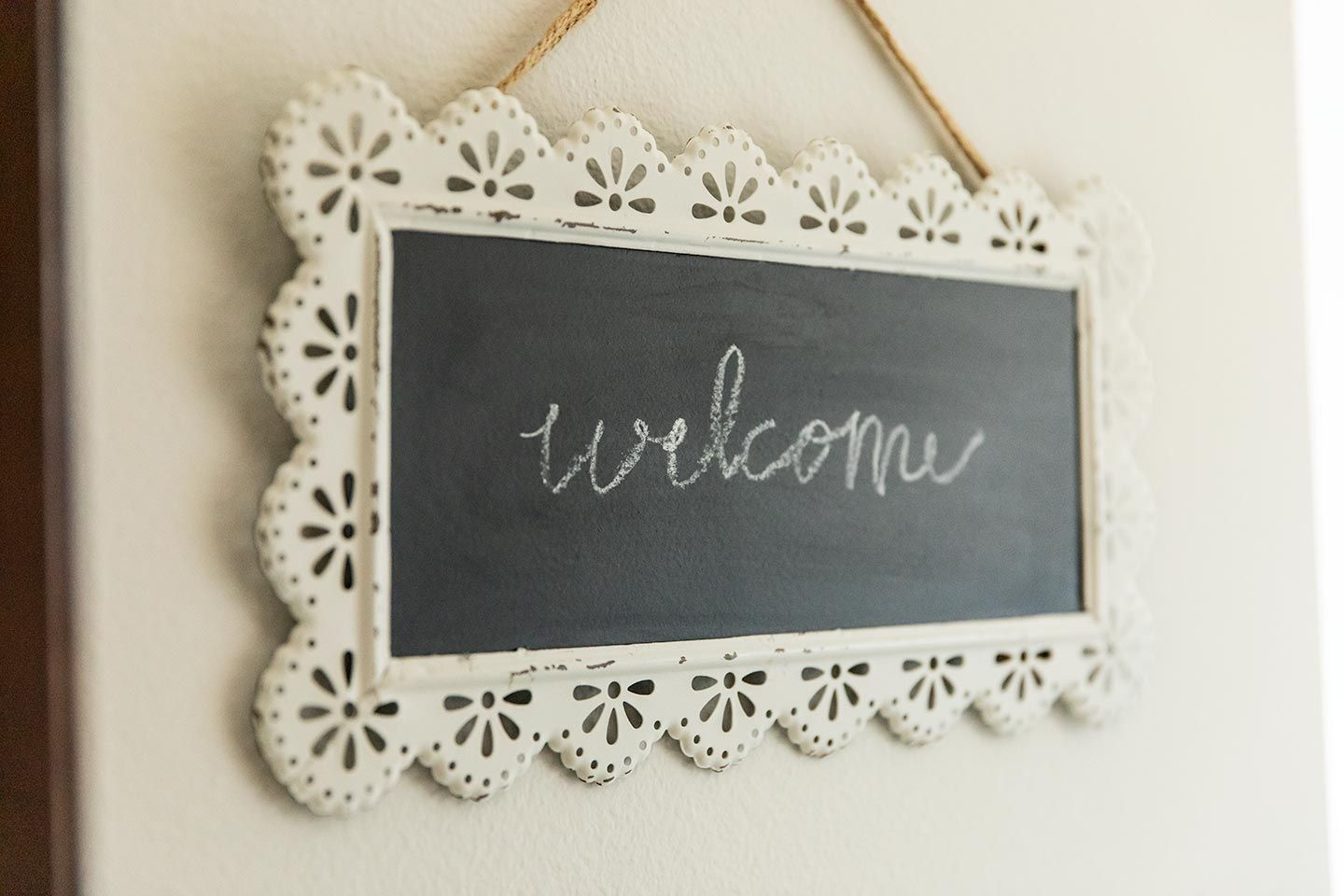 decorative chalkboard welcome sign