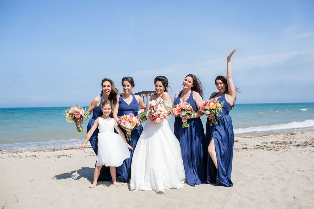 beach wedding party michigan wedding photographer