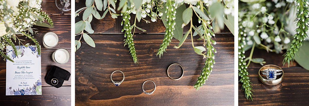 Central Valley California vineyard wine country destination wedding rings