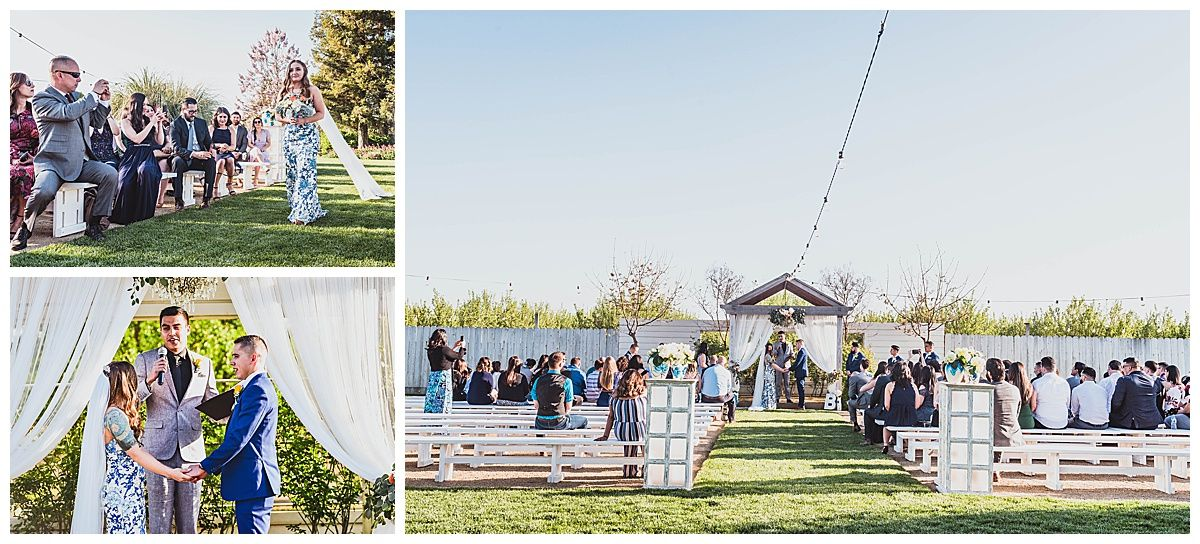 Central Valley California orchard wedding ceremony