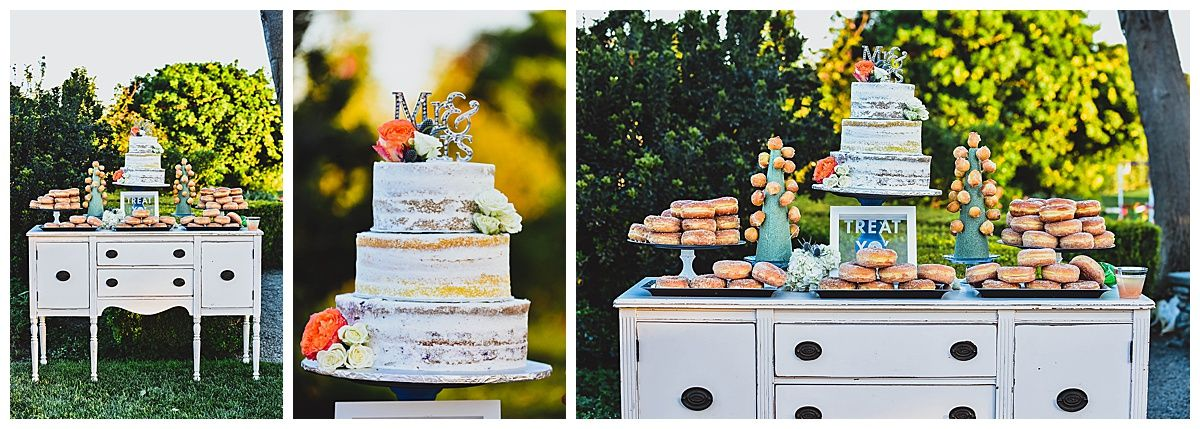 Central Valley California orchard wedding reception cake