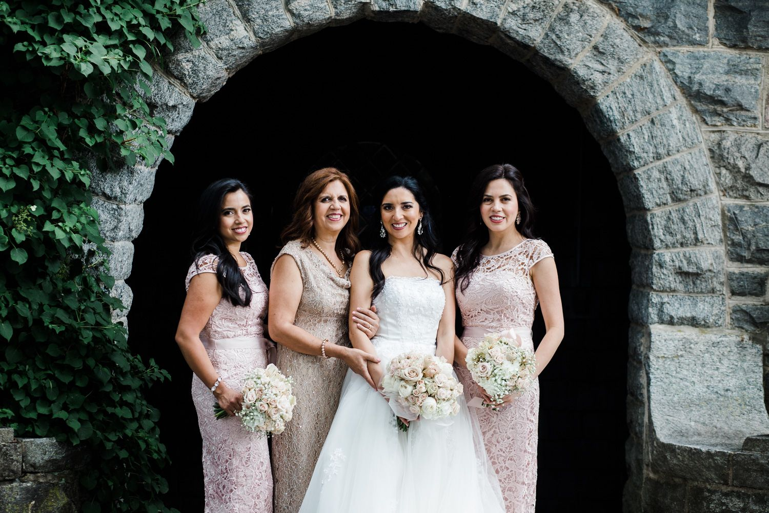 Portrait of a Hudson Valley bride, her bridesmaids and mother