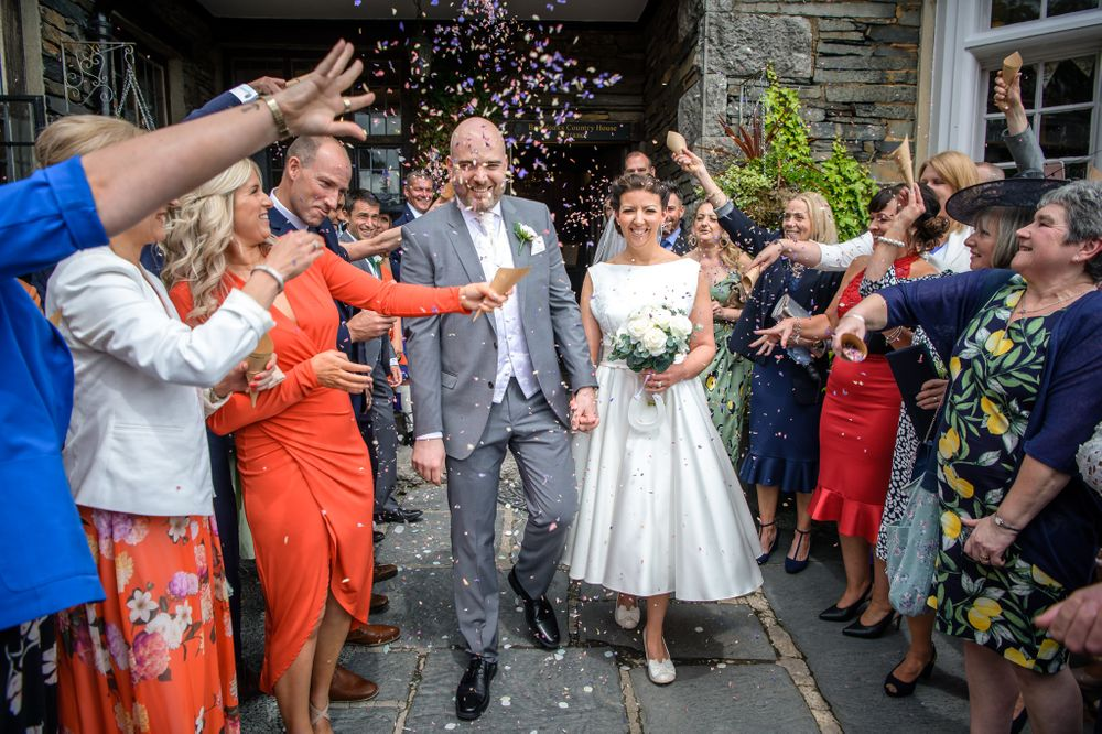 Confetti exit after ceremony at Broadoaks wedding