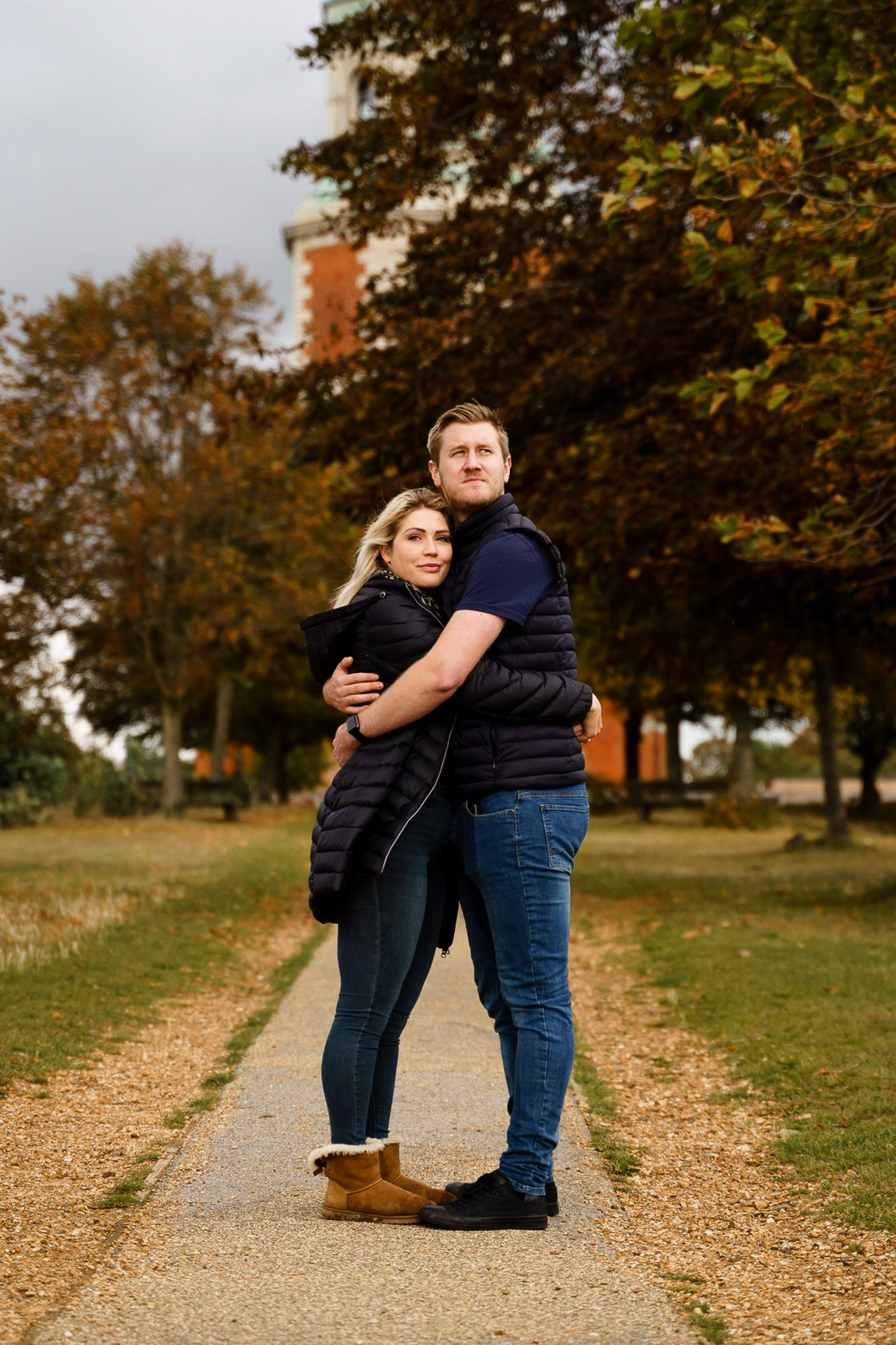 Full length portrait of a couple in Netley. Katherine and her Camera engagement photoshoot.