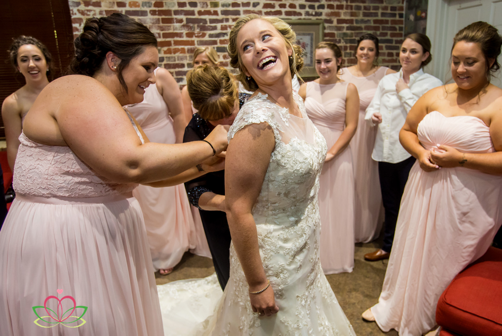 Bride gets ready during a same-sex wedding at Senate's End in Columbia, SC