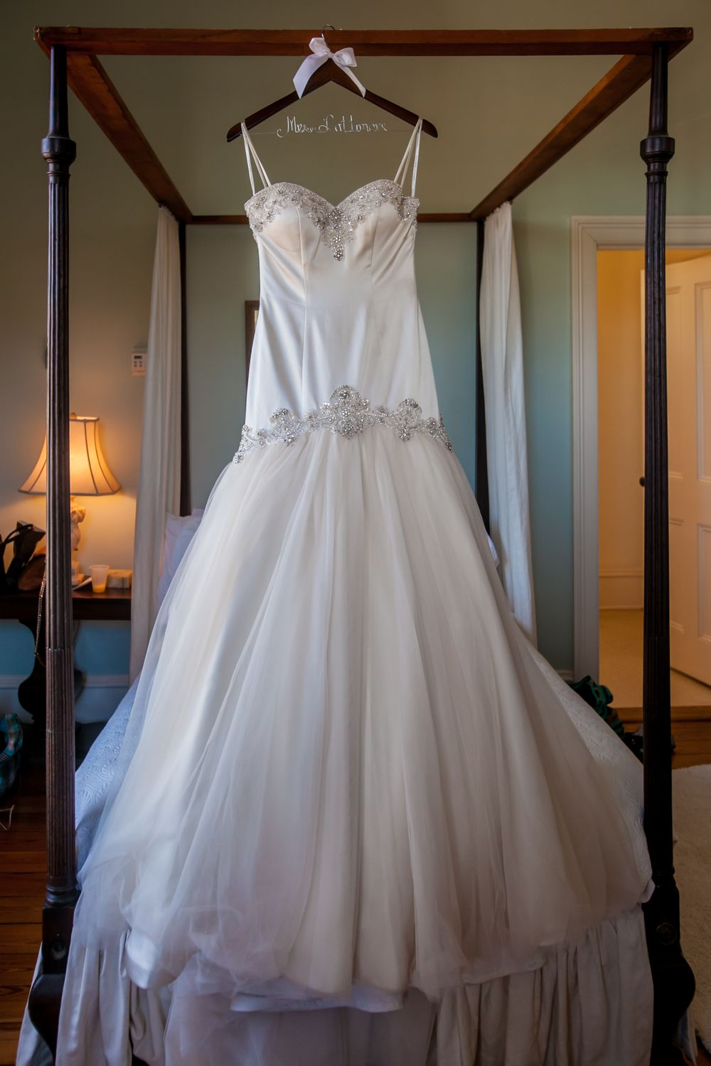 Wedding dress at the wedding of Miranda & Marcus Lattimore at the Lace House in Columbia, SC. Photo by Jeff Blake