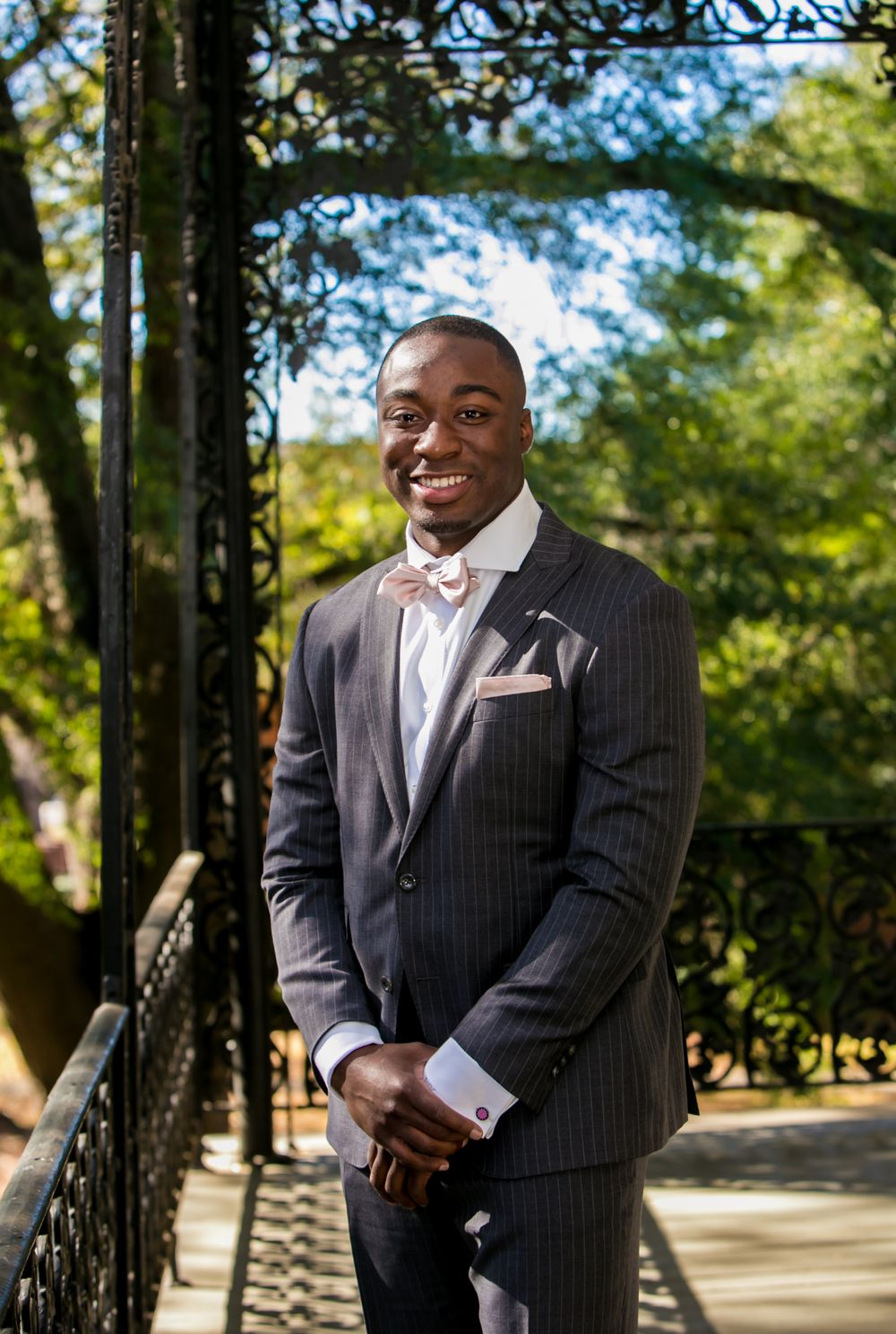 Groom portrait of Marcus Lattimore before his wedding at the Lace House in Columbia, SC. Photo by Jeff Blake