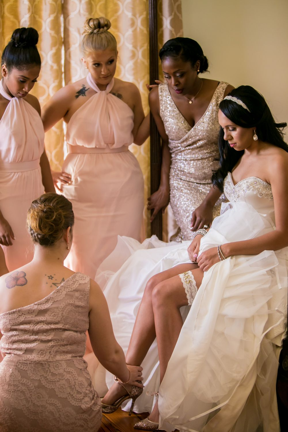 Miranda gets ready before her wedding to Marcus Lattimore at the Lace House in Columbia, SC. Ph