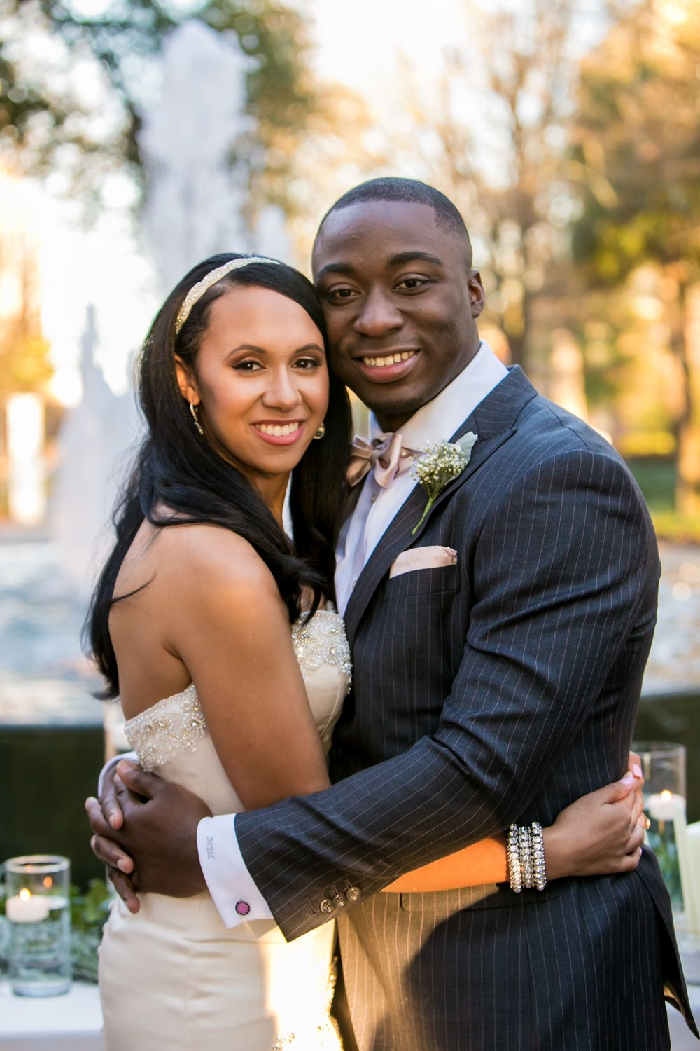 Miranda and Marcus Lattimore's wedding portrait at the Lace House in Columbia, SC. Ph