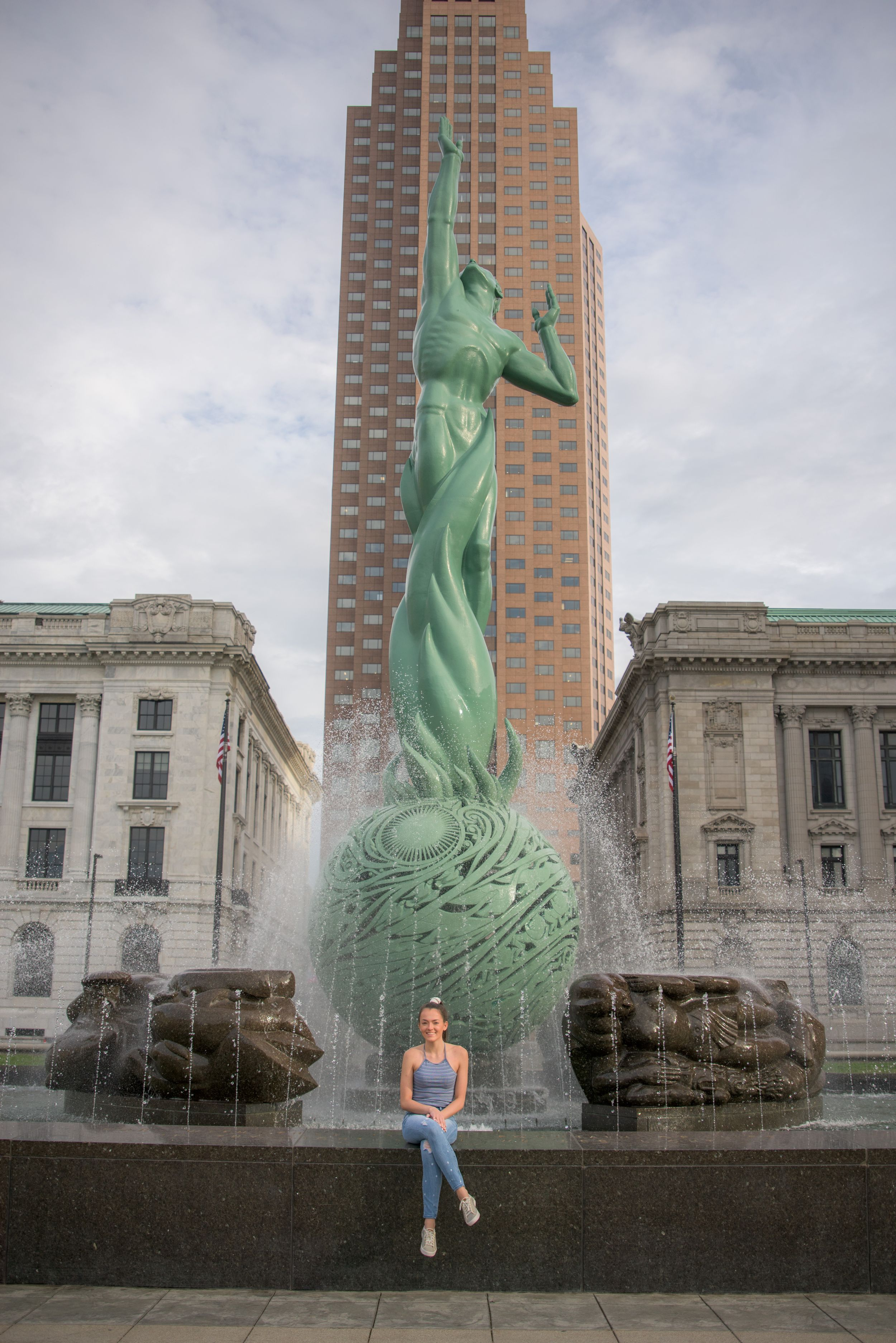 Malina (St Jospeh Academy Class of 2020) in front of Fountain of Eternal Life, Cleveland, Ohio