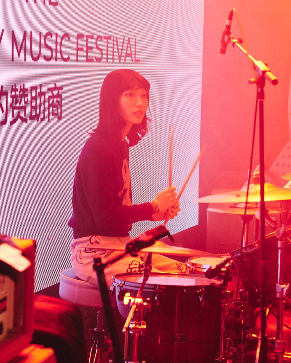 Female drummer for local band  Zhuhai CTC Come Together Charity 2019 Festival Concert Guangdong China